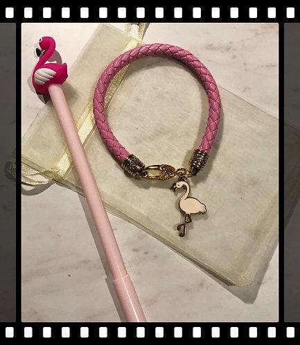 Leather Flamingo Bracelet