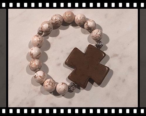 Howlite Cross Beaded Bracelet