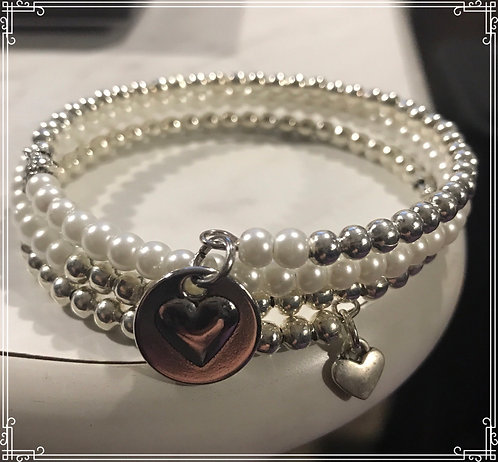 Silver and pearl 3 layered wrap bracelet