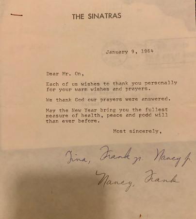 Sinatra Family Letter to Zalman
