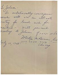 Rabbi Morton R. Bearman Note - Zalman's Memorable Words By Visitors of the Histadrut House