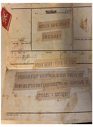 A telegram artifact from around 1938, where Zalman seems to be corresponding with his parents and possibly trying to arrange for them to get out of Bratislava.