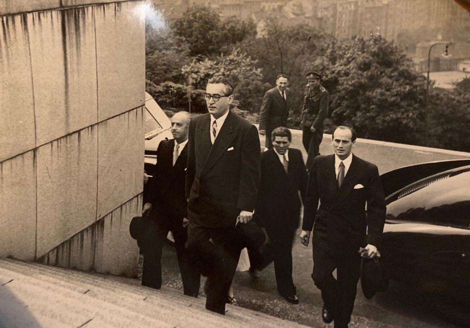Unnoticed Zalman Walking Up Steps