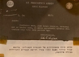 A thank you letter from the Order of Saint Benedict.  Source: Zalman Collection