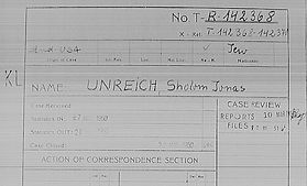 """New Unreich related materials in a recently published new digitized database sourced from the Arolsen Archives collection.  Papers filed during the search for Zalman's parents by Moshe Enright (aka Unreich) and Aron Grunhut.  Mentions Sulim, Regina and Teresa sent to the Sered """"work"""" concentration camp.  We visited the camp last year, but didn't find any records about them there. Clearly the report show otherwise, prior to being deported to Auschwitz."""
