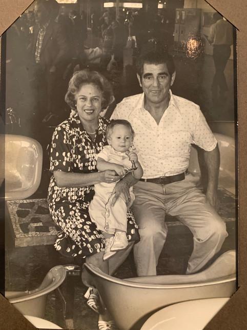 1978 Israel - Me and Grandparents at Airport