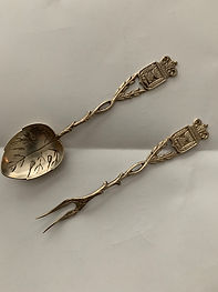 Vintage Teacup spoon and fork from Legation D'Israel Office in Prague.