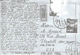 """In a postcard addressed to Moshe (Maurice Enright) Unreich the oldest brother, from Sulim, on May 27, 1940.  The postcard concludes with a quite positive sentiment, filled with greetings, blessings, and kisses. With the comment that Reitzi is well.  In another postcard, possibly dates around 1940, sent to Shlomo, Rachel made the following comment towards the end of the post card """"I'm very afraid…""""."""