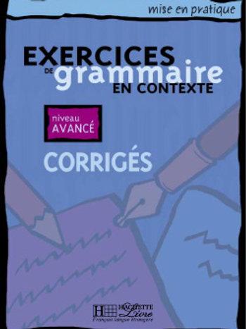EX. DE GRAMMAIRE CONTEXTE-AVANCE/CORRIGE