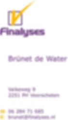 Visitekaartje Brünet de Water van Finalyses