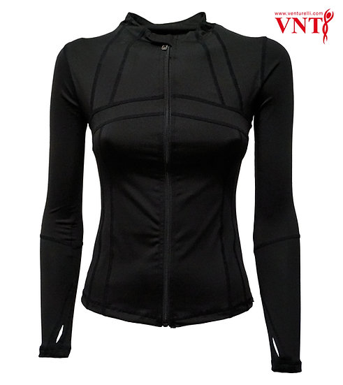 Venturelli Full Zip Jacket, Black with Silver Logo