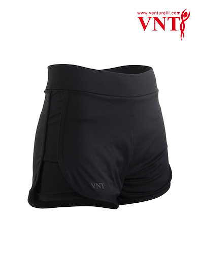 Venturelli 2 in 1 Training Shorts, Black with Silver Logo