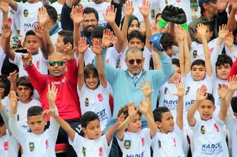 Celebrations le jour de la cloture des tests avec Haj Rahal et Hicham Rok