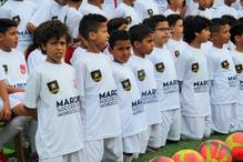 Preparation a la photo collective du Marcet Soccer Camp