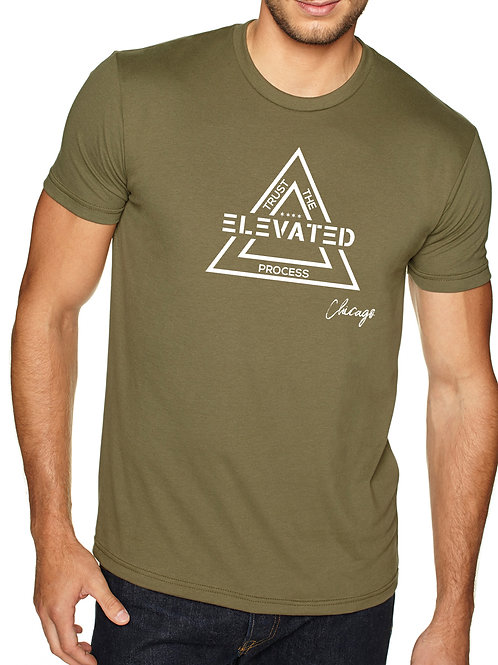 Elevated men's military green crew