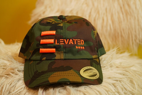 "Elevated Camo Puffed ""E"" hats/ neon Orange or Lime logo"