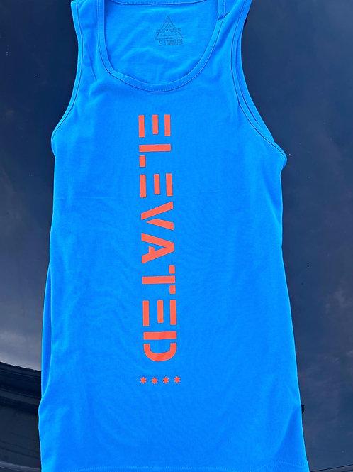 Elevated Men's Turquoise tank/Neon Orange logo