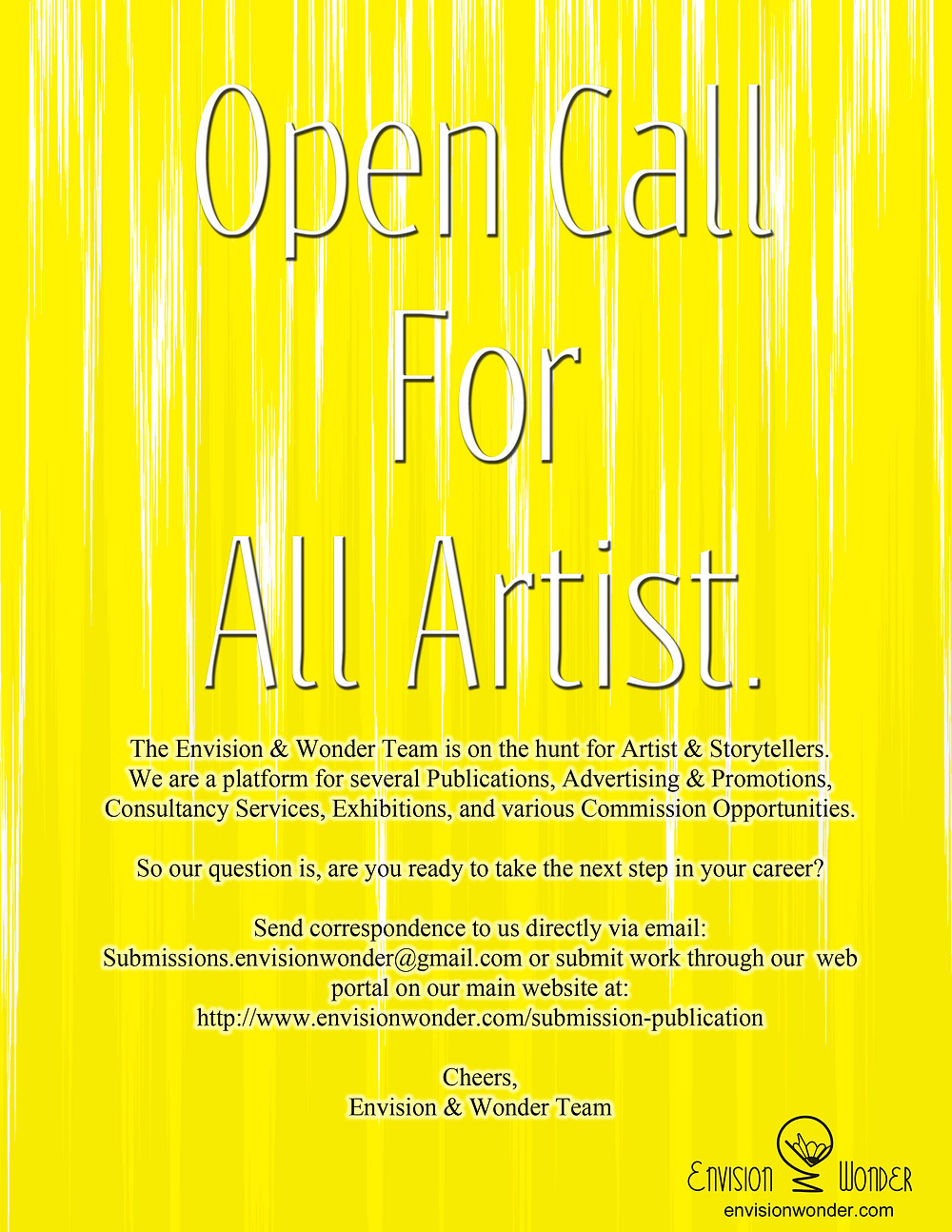 Envision & Wonder Open Call For Artist Submissions!