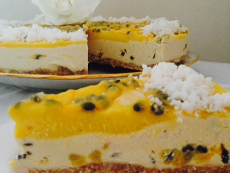 Raw Passion Fruit, Mango & White Chocolate Cheesecake