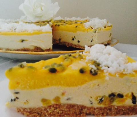 Raw Passion Fruit, Mango & White Chocolate Cheesecake