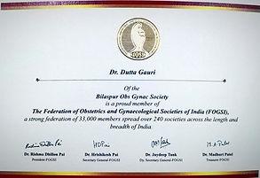 Dr. Gauri Datta isa member of prestigious FOGSI