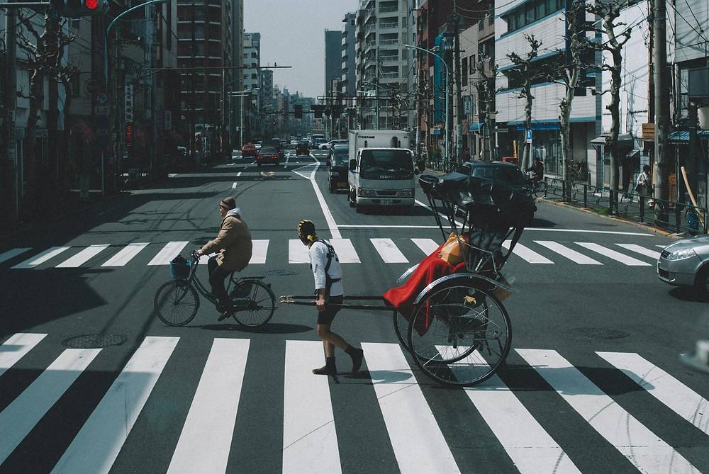 Rickshaw on crosswalk
