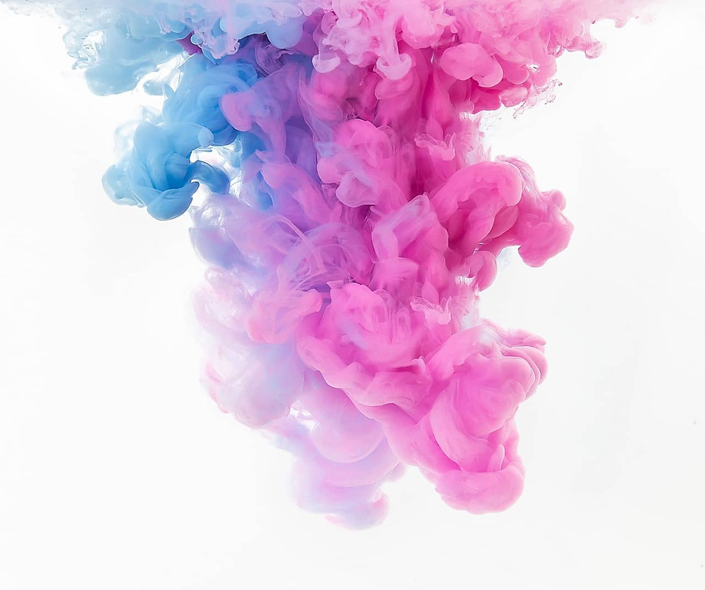 Clouds of dye in water
