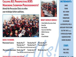 ACHS Band Percussion clinicsto begin May 15