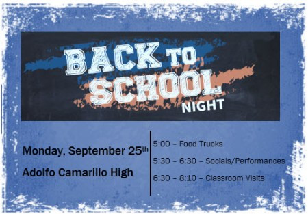 Back to School Night schedule, events