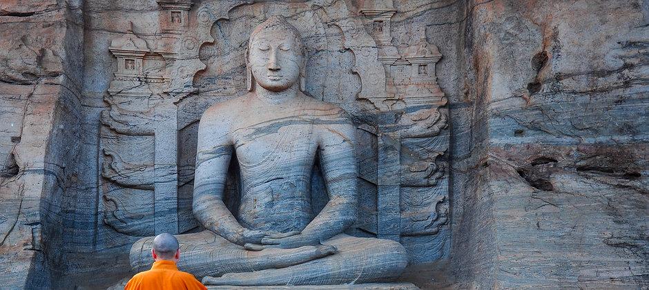 Unique monolith Buddha statue in Polonnaruwa temple - capital of Ceylon,UNESCO World Heritage Site.j