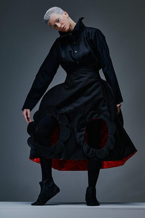 BLACK FLOWER sculptural skirt