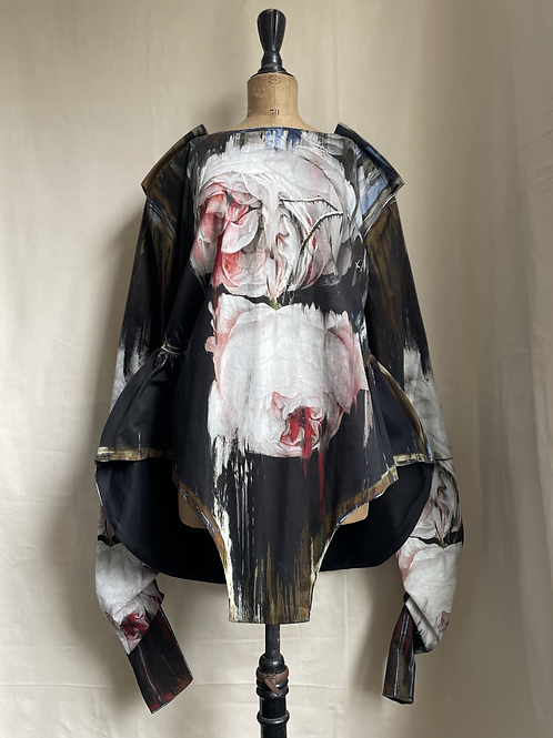 ROSES IN DECAY sculptural bodysuit in woven cotton