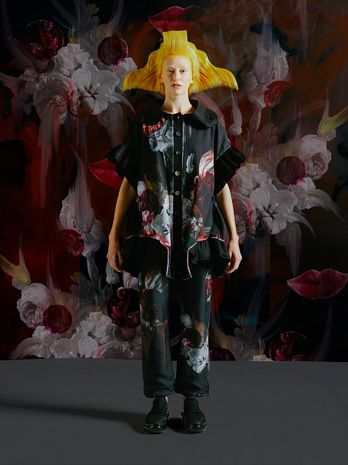 DARK TULIP sculptural jacket with ruffles