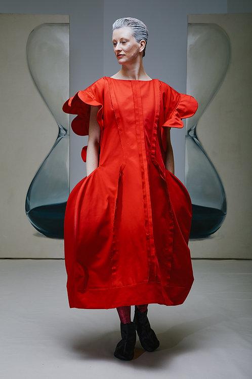 RED FLOWER runway dress