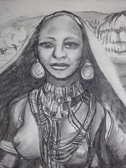 Young Woman from the Arbore Tribe, original charcoal drawing