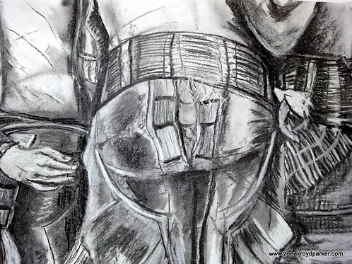 All the Bottoms- original charcoal drawing