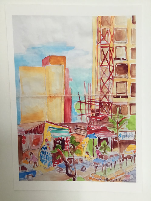 """Scaffolding and Lada Taxis""- Giclee print"