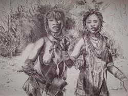Two Hamer Women on Road to Turmi