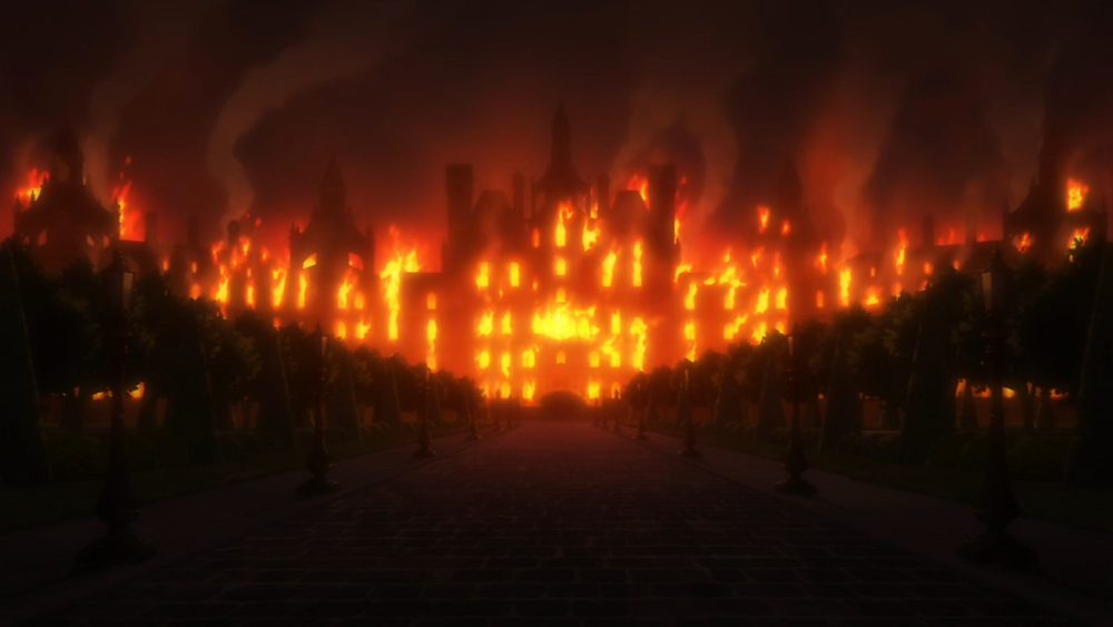 The Roswaal Mansion burning at night after a battle between Elsa and Garfiel as Otto and Petra and Fredericka  tried to escape