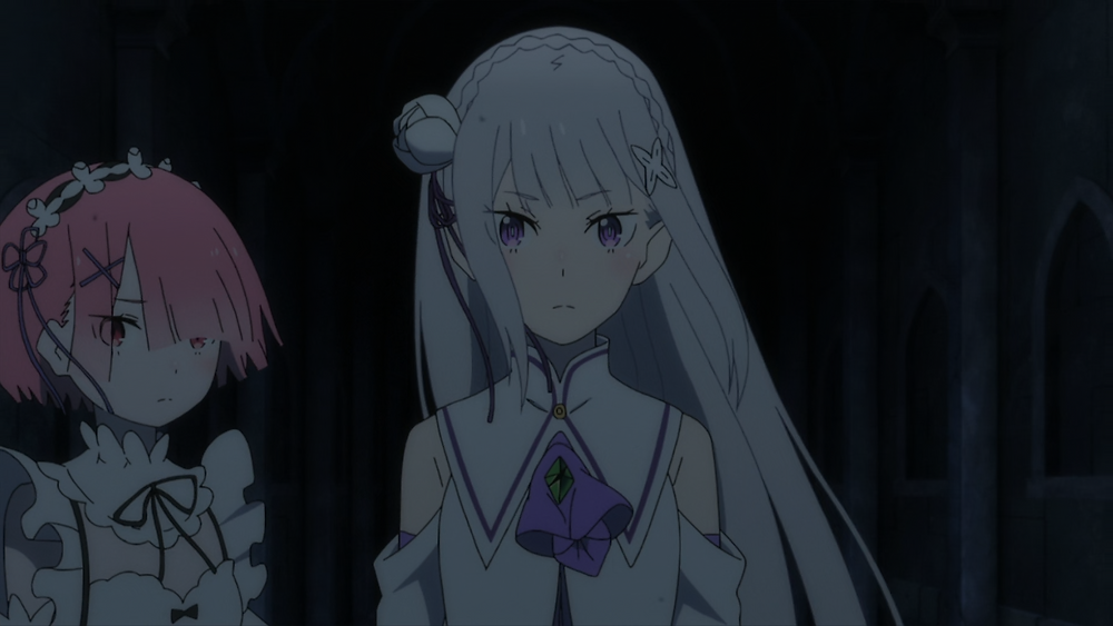 Ram and Emilia standing together at night