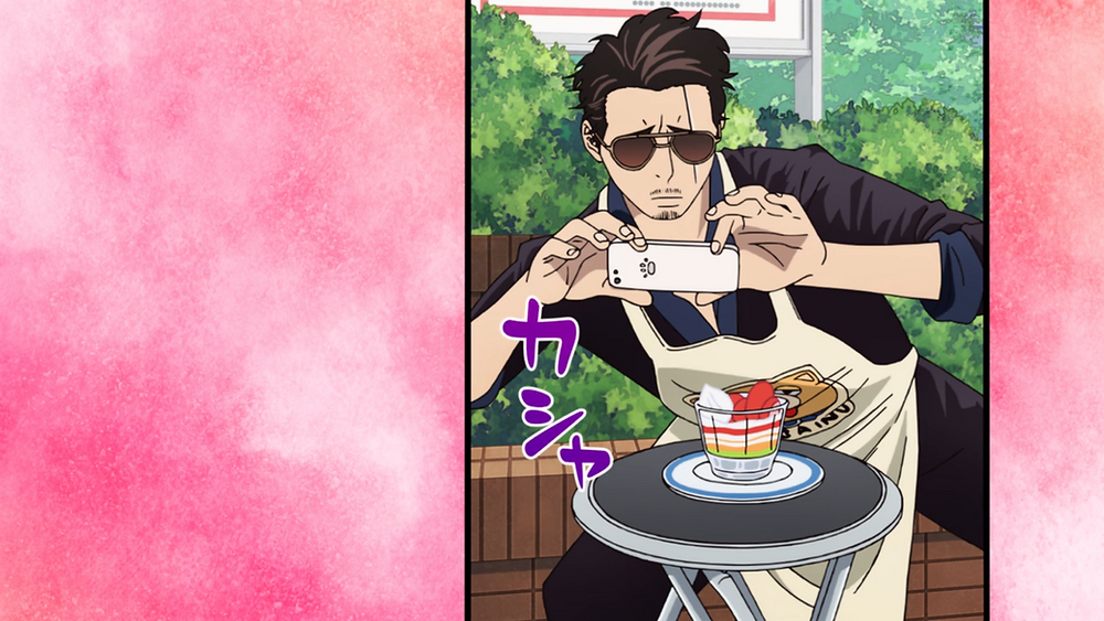 Tatsu taking a picture of his almond jelly in a fight of most likes