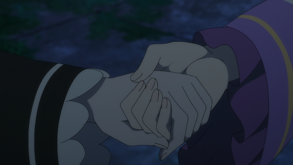 Ram and Emilia holding hands for comfort