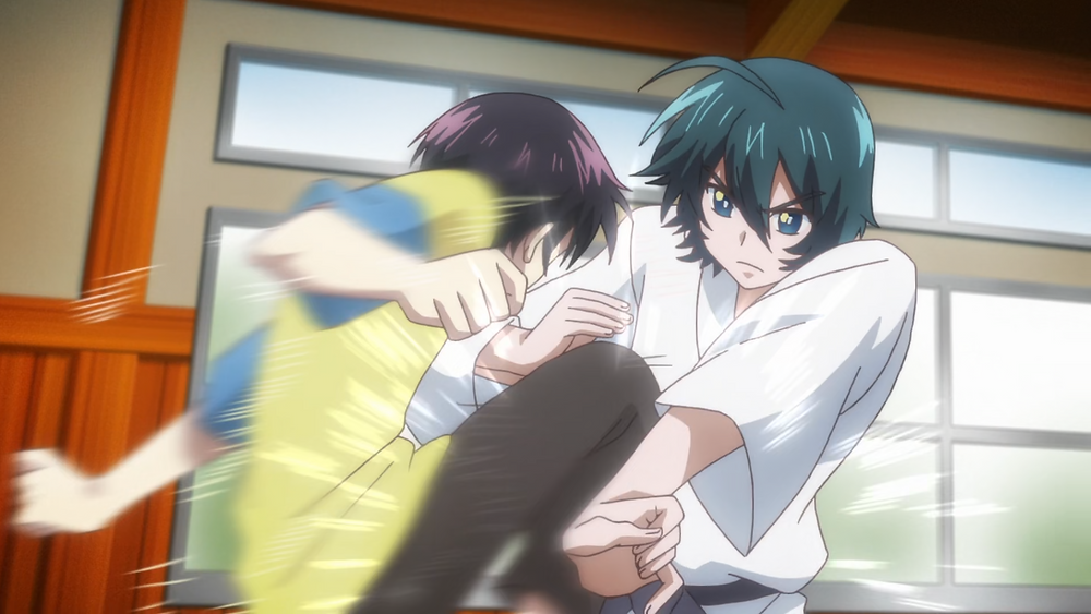 Kuro and his brother fighting in the dojo