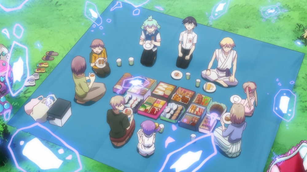 Dr. Ramune, Kuro, the patients, Nico and Grandma all having a picnic while mysterious spirits float above them
