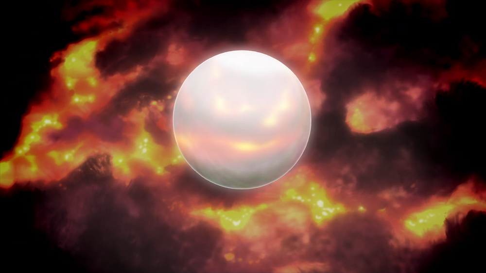 An orb floats in the depths of space