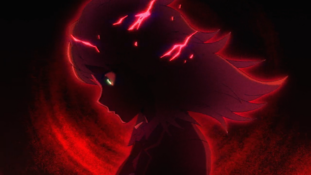 Nise, of High Rise Invasion, covered with a dark red aura