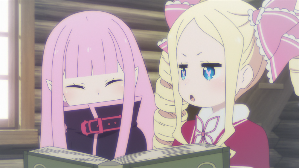 Two girls, pink haired Ryuzu and the blonde Beatrice, in a cabin and reading a book