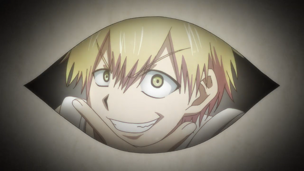 Dr. Ramune, blonde man, looking through a magic window or device