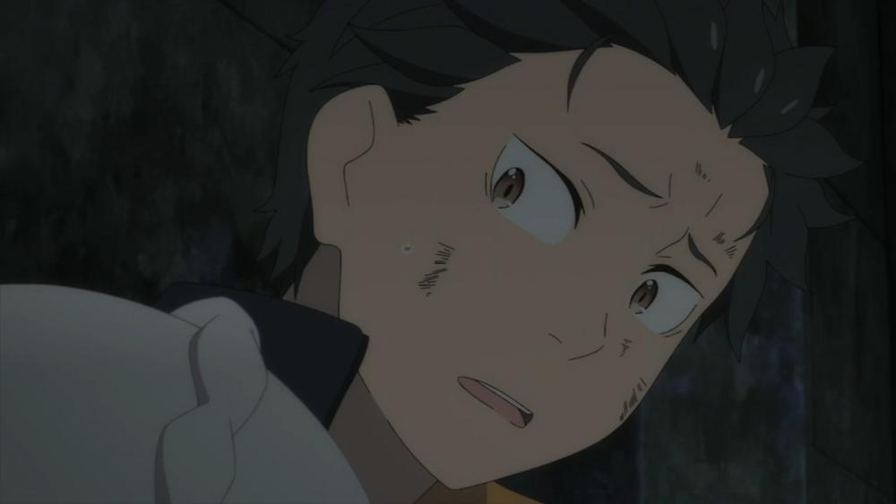 Black haired boy named Natsuki Subaru in a cave