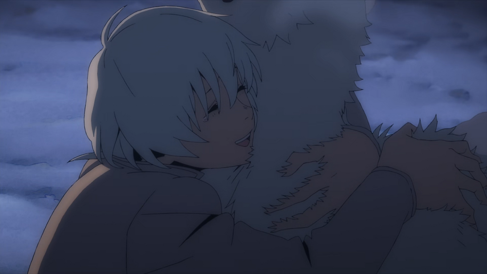 "A white haired human, hugging the immortal ""It"" that had taken the form of a dog or wolf"